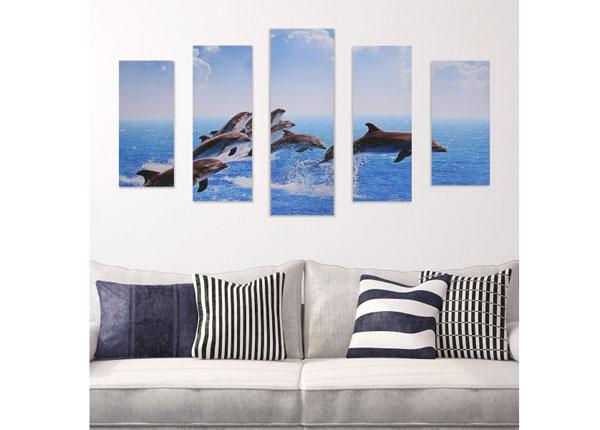 Картина из 5-частей Jumping Dolphins 160x60 cm ED-125683