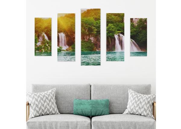 Картина из 5-частей Tropical Waterfall 160x60 cm ED-125684
