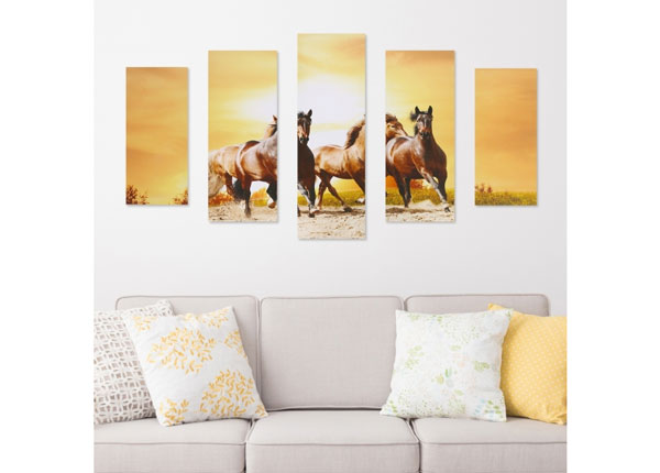 Картина из 5-частей Horse & Sunset 160x60 cm ED-125688