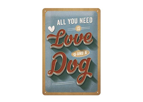 Металлический постер в ретро-стиле All you need is Love and a Dog 20x30 cm SG-126795