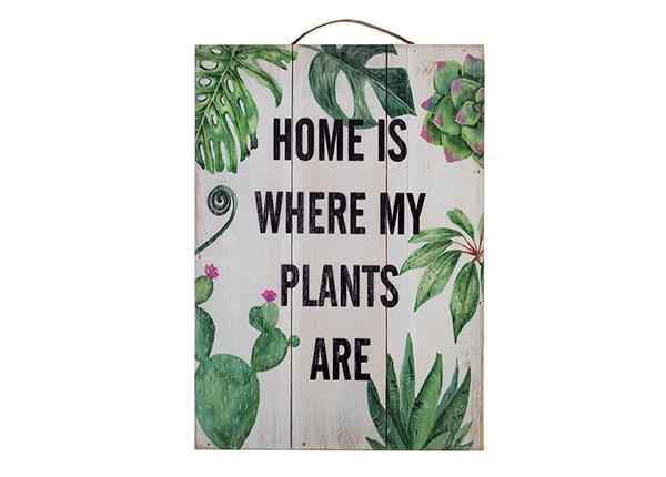 Деревянная картина Home is where my plants are 25x35 cm EV-128196