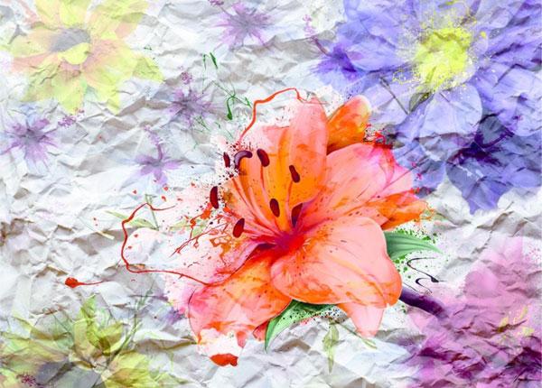 Флизелиновые фотообои Flowers with paper effect 360x270 cm ED-128209