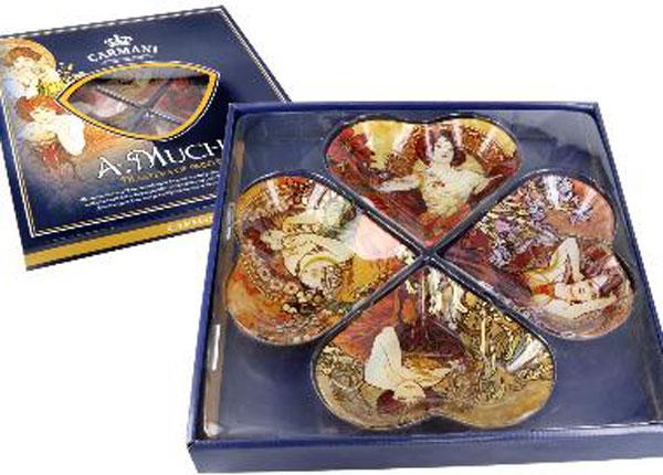 Набор тарелок в виде сердца A. Mucha MO-128725