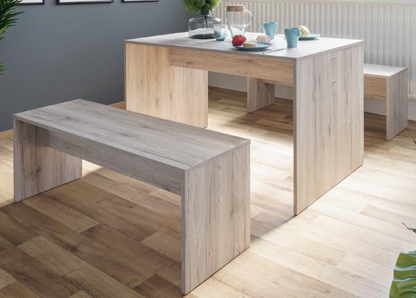 Обеденный стол 118x78 см + 2 скамьи CM-128812