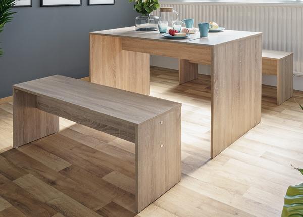 Обеденный стол 118x78 см + 2 скамьи CM-128813