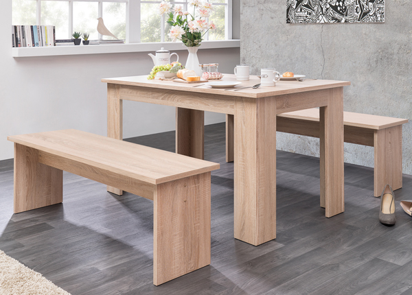 Обеденный стол 139x80 cm + 2 скамьи CM-133485