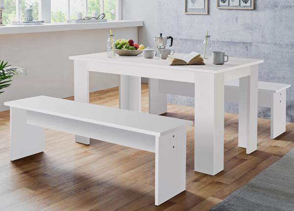 Обеденный стол 139x80 cm + 2 скамьи CM-133488