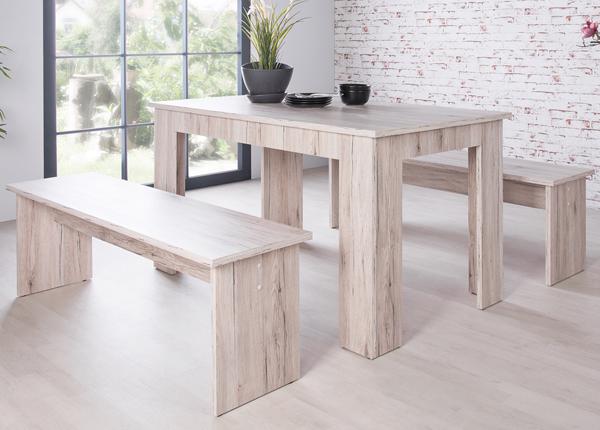 Обеденный стол 160x90 cm + 2 скамьи CM-133491