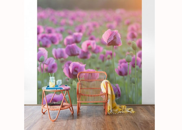 Флизелиновые фотообои Violet poppy flowers meadow in spring