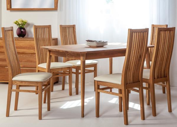 Обеденный стол из массива дуба Scan 140x90 cm+ 6 стульев Sandra EC-138004
