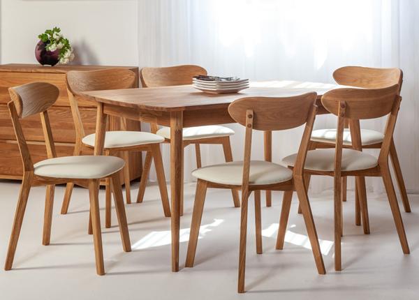 Обеденный стол из массива дуба Scan 140x90 cm+ 6 стульев Irma EC-138006
