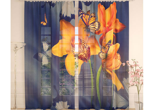 Тюлевые занавески Yellow Orchids and Butterflies 290x260 cm AÄ-138227