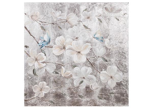 Масляная картина Белые цветы / бабочки 90x90 cm EV-139486