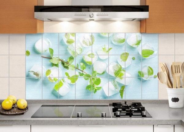 Наклейки на плитку Ice cubes with mint leaves 60x120 cm