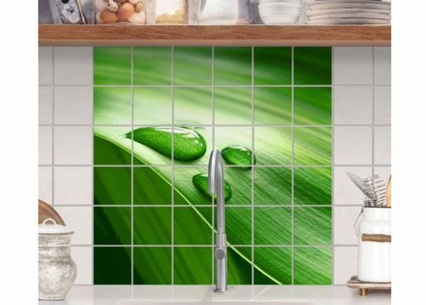 Наклейки на плитку Banana leaf with drops 120x120 cm
