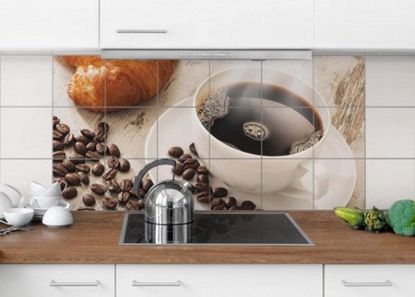 Наклейки на плитку Steaming coffee cup with coffee beans 60x120 cm ED-139975