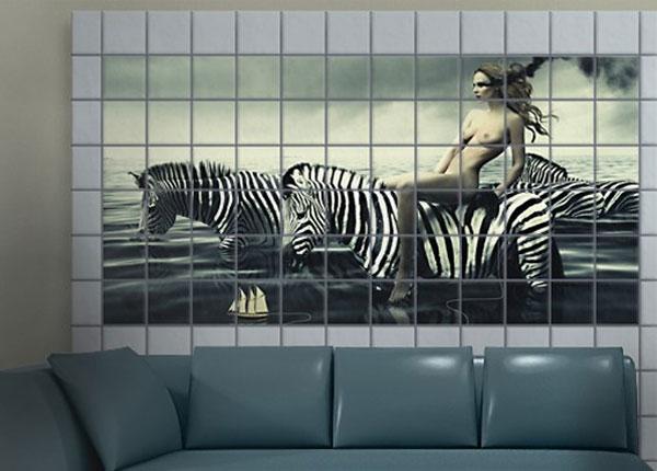 Наклейки на плитку Woman Posing With Zebras 60x120 cm