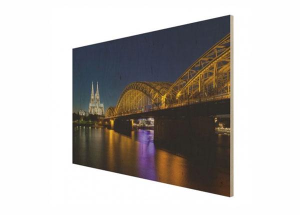 Настенная картина на древесине Cologne at night