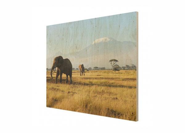 Настенная картина на древесине Elephants in front of the Kilimanjaro in Kenya ED-140895