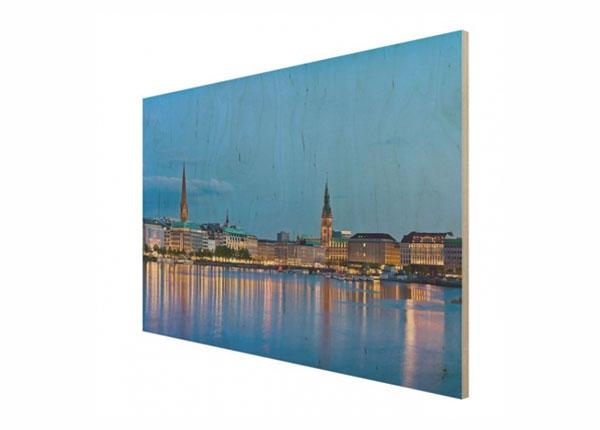 Настенная картина на древесине Hamburg skyline