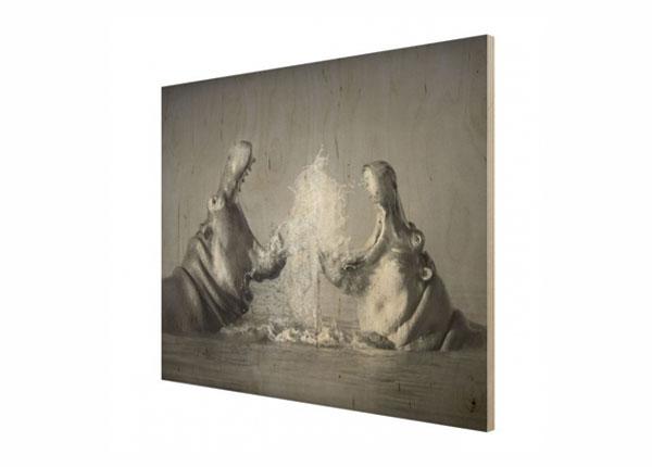 Настенная картина на древесине Hippo Fight ED-140914