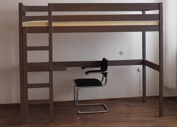 Двухъярусная кровать из массива берёзы + рабочий стол 80x200 cm