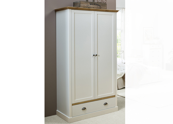 Шкаф платяной Sandringham, белый/дубовая морилка