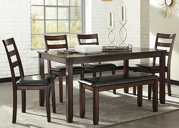 Обеденный стол 153x92 см + 4 стула и скамья BM-142663