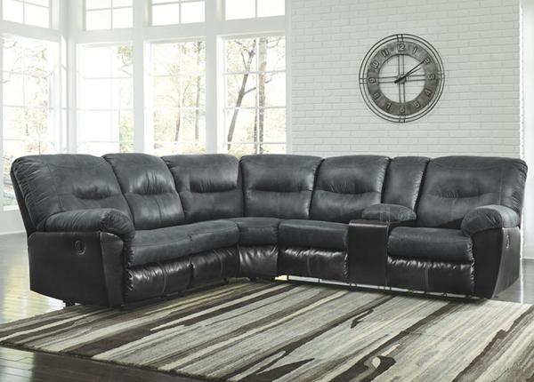 Угловой диван с двумя подножками Mirtel, тёмно-серый/чёрный
