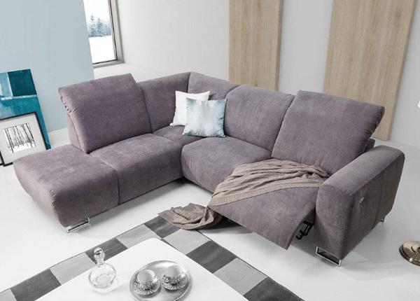 Угловой диван с ящиком и подножкой Lotta