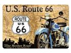 Металлический постер в ретро-стиле Route 66 синий мотоцикл 20x30cm SG-78915