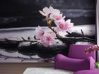 Флизелиновые фотообои Pink flowers on the stone 360x270 см ED-94805