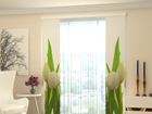 Полузатемняющая панельная штора White Tulips 2, 80x240 cm ED-97824