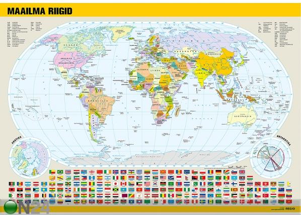 Regio политическая карта мира с флагами RW-71934