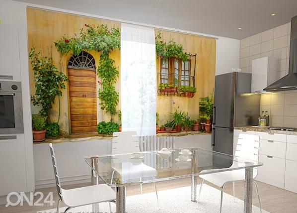 Просвечивающая штора The front in flowers for the kitchen 200x120 см ED-98448